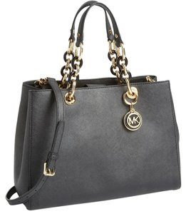 Michael Kors Collection Leather Monogram Satchel in black