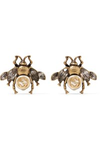Gucci Bee crystal and pearl embellished earrings