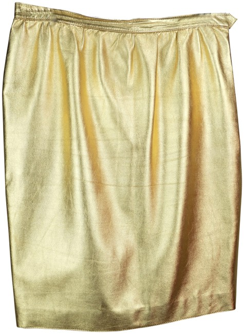 Item - Gold Leather Skirt Size 12 (L, 32, 33)