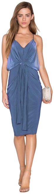 Item - Blue Domino Slinky Midi Mid-length Cocktail Dress Size 12 (L)