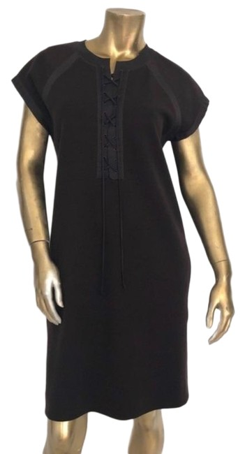 Item - Brown Stetch Wool Lace-up 44 Short Casual Dress Size 8 (M)