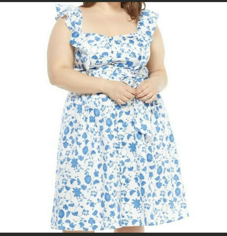 Blue White Olivia Floral Wallpaper Mid Length Short Casual Dress