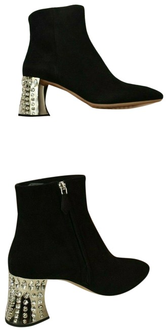 Item - Black 5t912a Suede Crystals Jeweled Mirror Heel Ankle Italy Boots/Booties Size EU 41 (Approx. US 11) Regular (M, B)