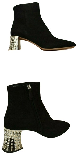 Item - Black 5t912a Suede Crystals Jeweled Mirror Heel Ankle Italy Boots/Booties Size EU 40.5 (Approx. US 10.5) Regular (M, B)
