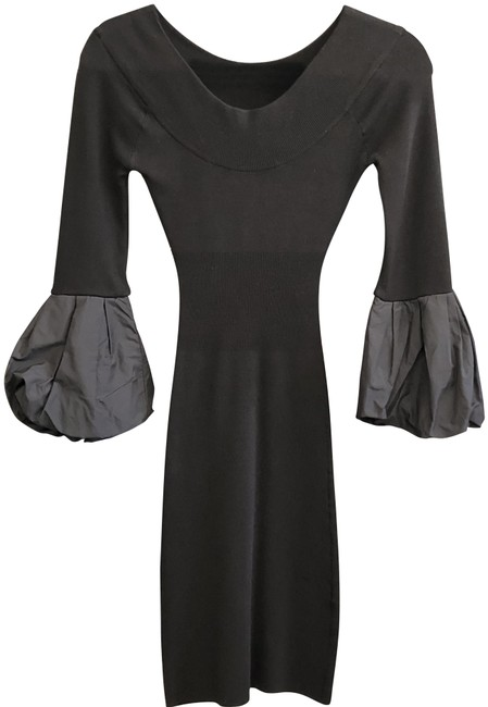 Item - Vibrant Black 3/4 Sleeve Puffy Cuff Stretchy Mid-length Night Out Dress Size 2 (XS)