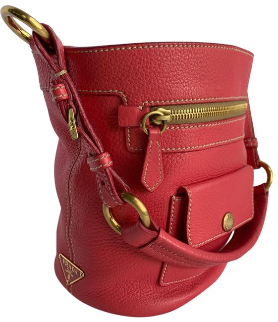 Item - Bucket Pink and Gold Leather Tote