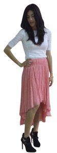 Jason Wu Polka Dot Pleated High-low Chiffon Silk Glitter Skirt Pink