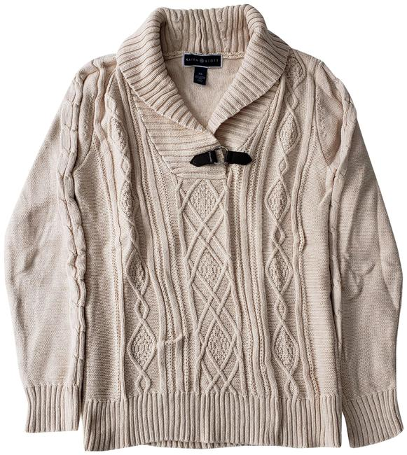 Item - XS Cable Knit V-neck Collared Long Sleeve Buckle Ivory Beige Sweater