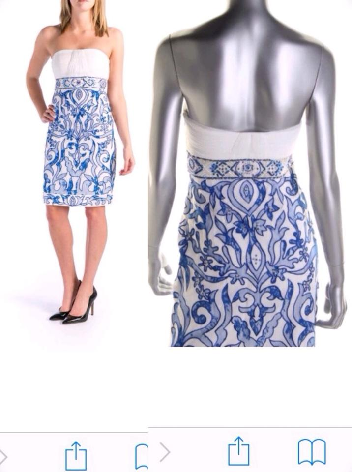 Sue Wong Ivory/Blue White Knee-length Semi-formal Above Knee ...