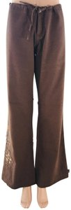 prAna Cotton Floral Embroidered Flare Pants Brown