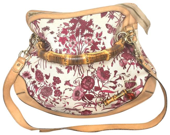 Item - Flora Large with Bamboo Handle Pink Canvas Hobo Bag