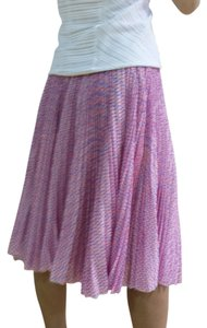 Jason Wu Polka Dot Pleated Chiffon Skirt Purple Pink