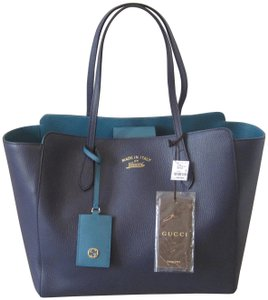 Gucci Leather Tote in Navy Blue and Teal