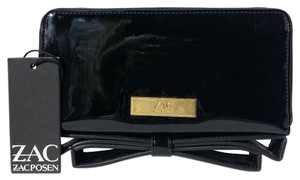 Zac Posen Bow Patent Leather Zip Around Black Clutch
