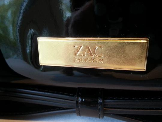 Zac Posen Bow Patent Leather Zip Around Metal Zipper Gold Tone Hardware Faille Fabric Interior Black Clutch