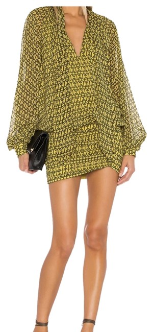 Item - Yellow/ Black The Maelle Mini In Gold Chain Short Cocktail Dress Size 8 (M)