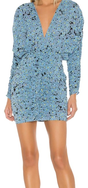 Item - Blue/Black/Yellow The Nicoletta Mini In Floral Short Cocktail Dress Size 8 (M)