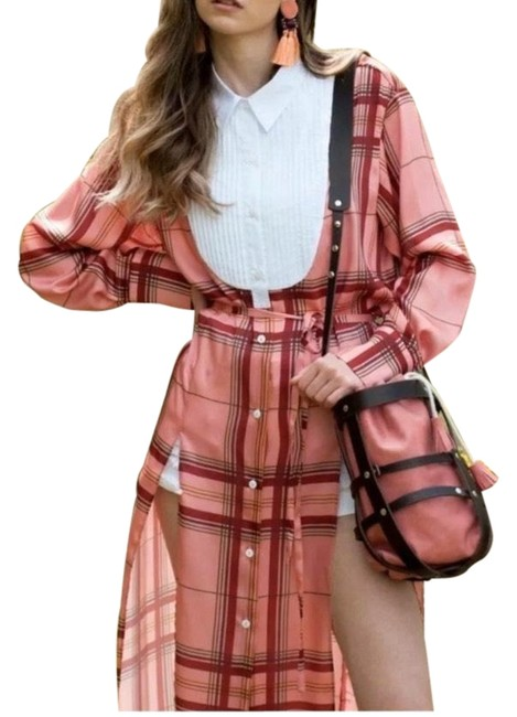 Item - Pink Studio Collection Contrast Check Tunic Mid-length Casual Maxi Dress Size 8 (M)