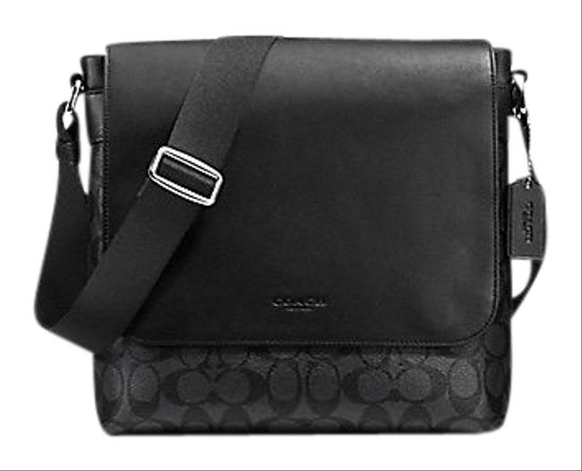 Item - Charles Small In Signature Black / Charcoal / Silver Coated Canvas / Leather Messenger Bag