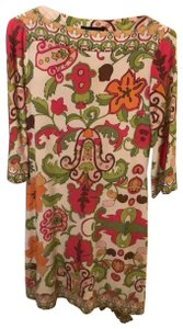 Julie Dillon short dress pink and green with brown and gold accrnt on Tradesy