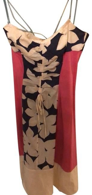 Item - Navy Pink and Cream with Aqua Accent Tropical Collection Mid-length Cocktail Dress Size 2 (XS)