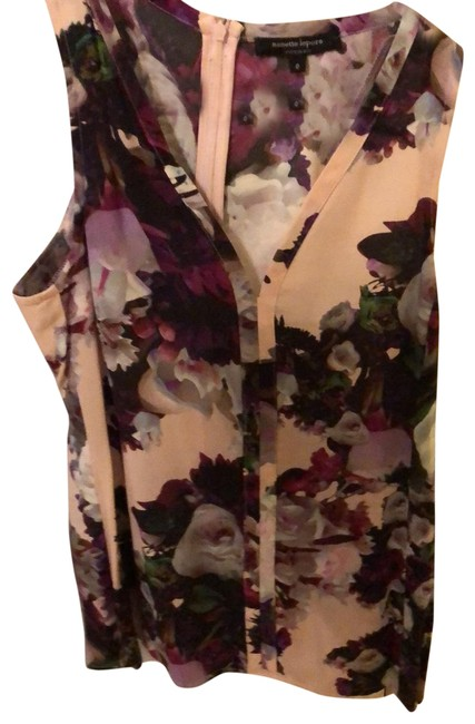 Item - Light Pink with Purple and Green Rose Garden Blouse Size 0 (XS)