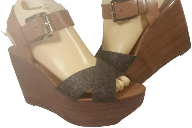 Item - Brown W/Gold Accents Leather Woman's Wedge Logo Dress Casual Sandals Size US 7.5 Regular (M, B)