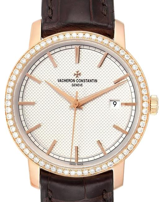 Item - Engine-turned Knurled Traditionnelle Rose Gold Diamond Mens 85520 Watch