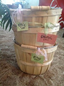Light Brown Wood 3 New Wooden Baskets/Pails Ceremony Decoration
