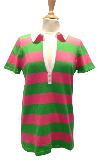Item - Pink and Green Striped Pima Cotton Polo Large Tee Shirt Size 14 (L)