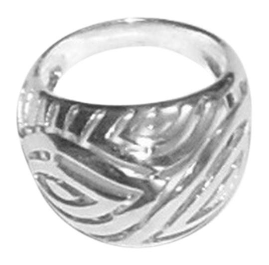 unknown Sterling Silver Dome Ring With Cut-out Design