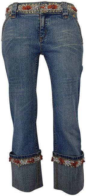 Item - Blue Coral Gold White Medium Wash Genuine Pearl Sequin Detail At Waist Cuffs Capri/Cropped Jeans Size 28 (4, S)