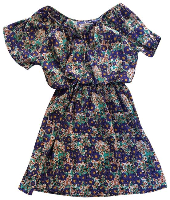 Item - Purple and Green Nwot Floral Loose Small Mid-length Short Casual Dress Size 6 (S)