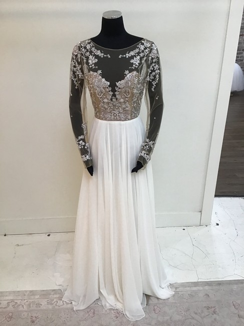 Item - Ivory/Rose/Nude Chiffon Illusion Mesh Top Bridal Gown Formal Wedding Dress Size 6 (S)