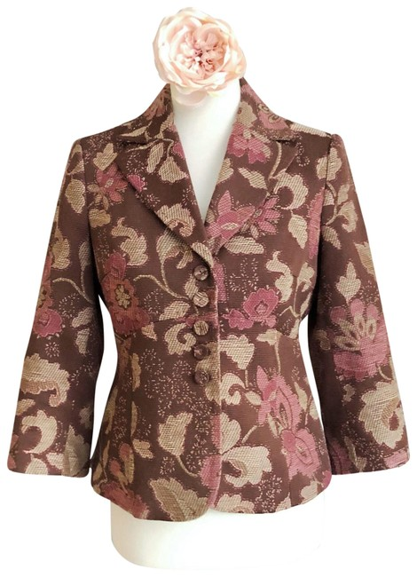 Item - Brown Pink and Tan Floral Blazer Size 6 (S)