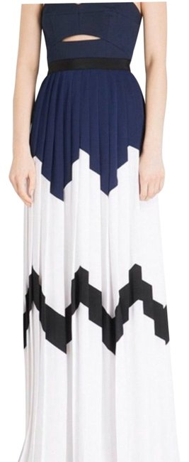 Item - Navy White Black Strapless Bandeau Maxi Gown Long Formal Dress Size 6 (S)