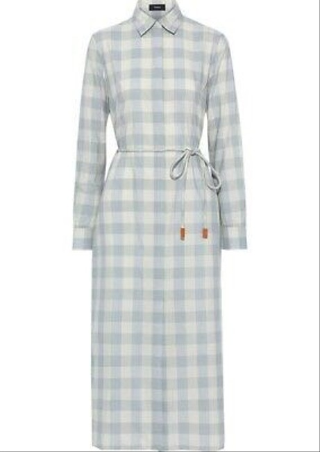 Item - Blue Check Fuji Belted Shirtdress Mid-length Work/Office Dress Size Petite 4 (S)