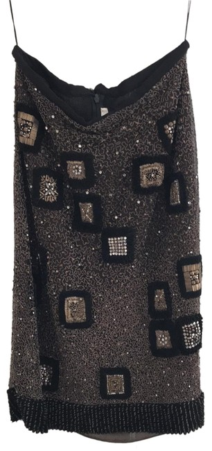 Naeem Khan Black and Gold Sequin Skirt Size 6 (S, 28) Naeem Khan Black and Gold Sequin Skirt Size 6 (S, 28) Image 1