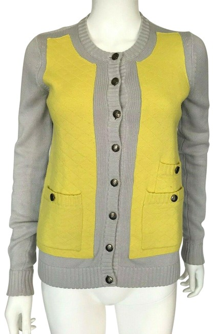 Item - Gray Yellow XS Long Sleeve Knit Sweater Cardigan Size 2 (XS)