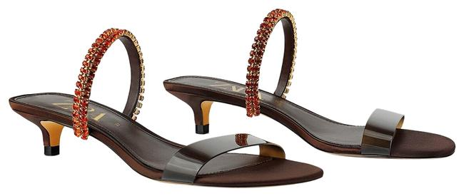 Item - Brown/Orange Rhinestone Strap Kitten Ref 5305/001 Sandals Size US 6 Regular (M, B)