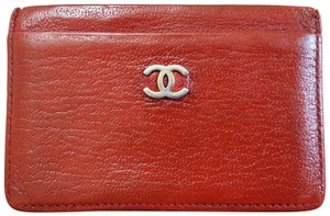 Chanel Chanel Credit Card Holder Red Caviar Skin Leather
