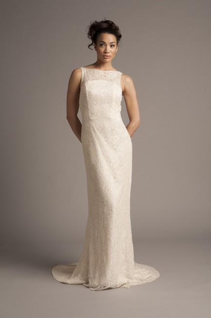 Sophie Chang Light Champagne Cored Lace Gemma Modern Wedding Dress Size 6 (S) Sophie Chang Light Champagne Cored Lace Gemma Modern Wedding Dress Size 6 (S) Image 1