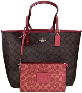 Coach Shoulder Chanel Kors Monogram Tote in Brown Red