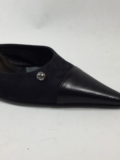 Chanel Leather Fabric Pointed Toe Black Mules