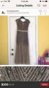 Adrianna Papell Champagne Sequin The Gatsby Formal Bridesmaid/Mob Dress Size 8 (M)