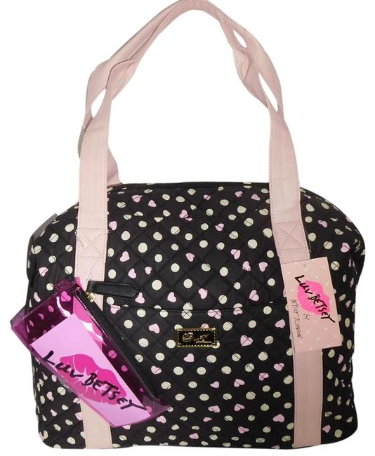 Item - Quilted Print Black/Multi Color Fabric / Faux Leather Weekend/Travel Bag