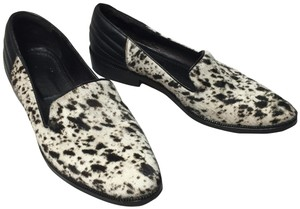 The Kooples Leather Faux Fur Animal Print black & white Flats
