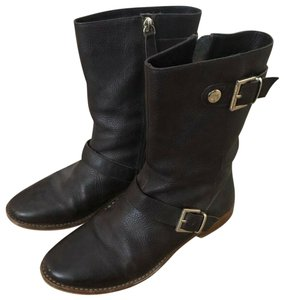 Elaine Turner Leather Gold Buckle Wine Brown Boots