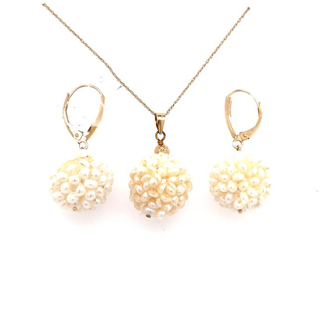 Item - White 14k Ball-shaped Necklace and Earrings Set