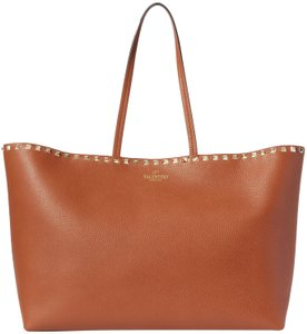 Valentino Rockstud Carryall Leather Tote in Brown